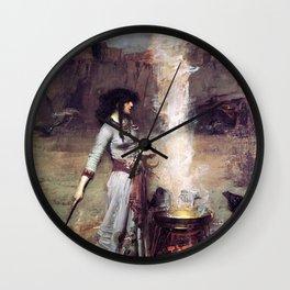 THE MAGIC CIRCLE - JOHN WILLIAM WATERHOUSE Wall Clock
