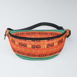 Ethnic Tribal Pattern Gold Orange and Teal Fanny Pack