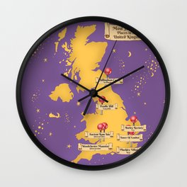 Map Of the Most Haunted Locations of the United Kingdom. Wall Clock