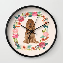 cocker spaniel dog floral wreath dog gifts pet portraits Wall Clock