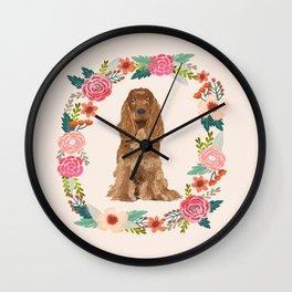 cocker spaniel dog floral wreath dog gifts pet portraits Wall Clock