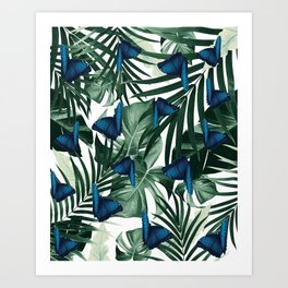 Tropical Butterfly Jungle Leaves Pattern #1 #tropical #decor #art #society6 Art Print