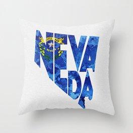 Nevada Typographic Flag Map Art Throw Pillow