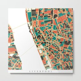 Liverpool City Map - Multicolour Metal Print