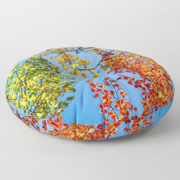Aspen Color Candy // Green Yellow Red and Orange Fall Leaf Colors Floor Pillow