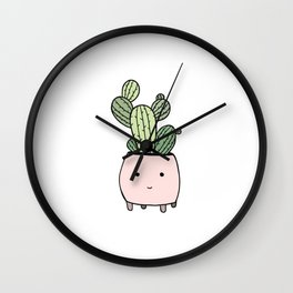 Smiling cactus in pink flowerpot Wall Clock