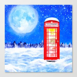 Winter In Great Britain - Red Telephone Box Artwork Canvas Print