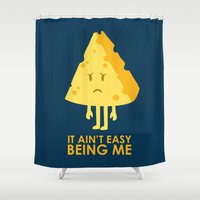 sayings Shower Curtains featuring It ain't easy being cheesy by Picomodi