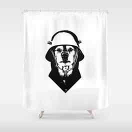 Eleven: Dog with Helmet Shower Curtain
