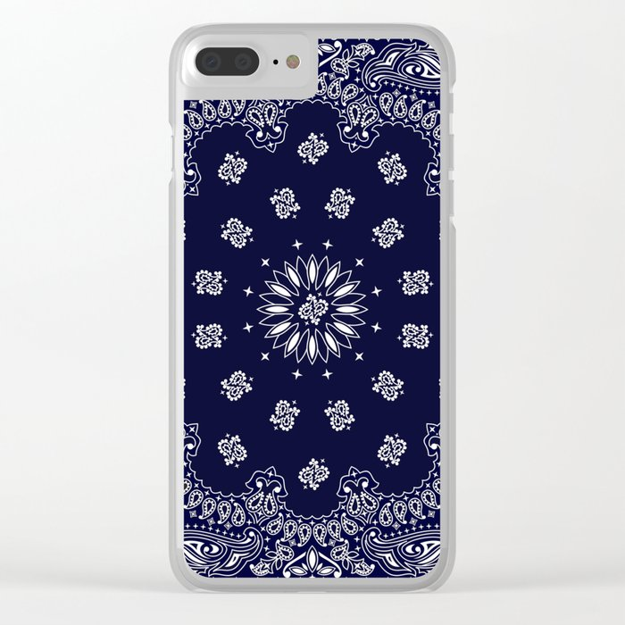 new concept 52d28 8b527 Paisley - Bandana - Navy Blue - Southwestern - Cowboy Clear iPhone Case
