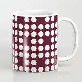 White dots on burgundy red Coffee Mug