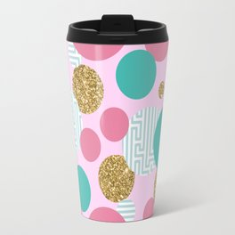 Golden Bubble Glitter Pattern Travel Mug