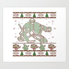 Hockey Goalie Christmas Art Print