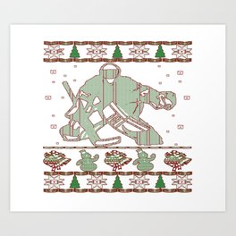 Hockey Goalie Christmas Art Print