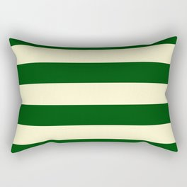 Dark Emerald Green and Cream Large Stripes Rectangular Pillow