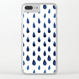 Blue Indigo Series - Drops of Water Pattern Clear iPhone Case