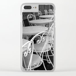 Cafe Tables and Chairs - black and white Clear iPhone Case