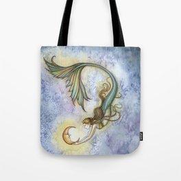 Deep Sea Moon Fantasy Mermaid Art Illustration by Molly Harrison Tote Bag