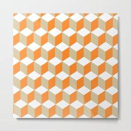 Diamond Repeating Pattern In Russet Orange and Grey Metal Print