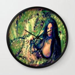 Green nude Isis mermaid ladykashmir Wall Clock