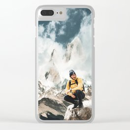 hiking in patagonia Clear iPhone Case
