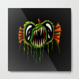 Creatures from the deep dark sea - Open Mouth Green Angler Fish Metal Print
