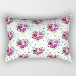 Be Happy, Be Bright, Be You - Pink flowers Rectangular Pillow