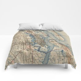 Vintage Map of St. Augustine Florida (1937) Comforters