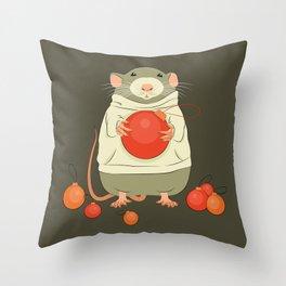 Mouse with a Christmas ball II Throw Pillow