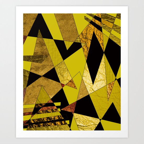 Abstract #508 Black, Gold & Copper Shards Art Print
