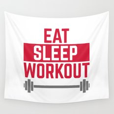 Eat Sleep Workout Gym Quote Wall Tapestry