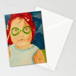Maddie with Goggles, a painting by Karen Chapman Stationery Cards