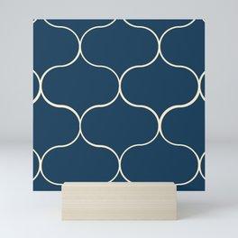 Ogee pattern classic blue Mini Art Print