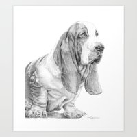 the hound Art Prints featuring Basset hound by Doggyshop