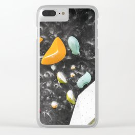 Colorful summer bouldering gym wall climbing holds girls Clear iPhone Case