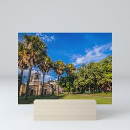 mission concepcion with palm trees Mini Art Print