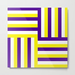 TEAM COLORS  7,,,Patterns , yellow , purple white Metal Print