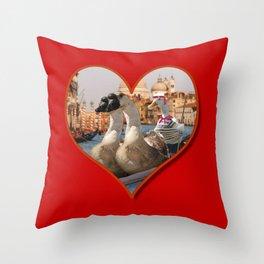 Geese on a Romantic Gondola Ride Throw Pillow