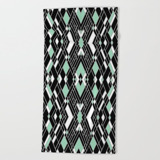Art Deco Zoom Mint Beach Towel
