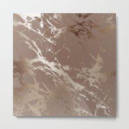 Metallic Bronze Marble Pattern Metal Print