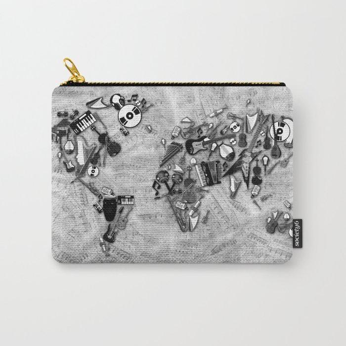 world map music black and white Carry-All Pouch