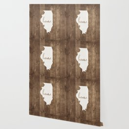 Illinois is Home - White on Wood Wallpaper