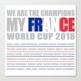 WORLD CUP 2018 FRANCE champion Canvas Print
