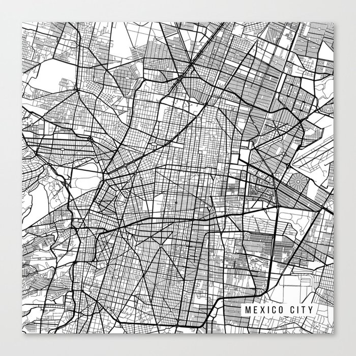 Mexico City Map, Mexico - Black and White Canvas Print by ... on