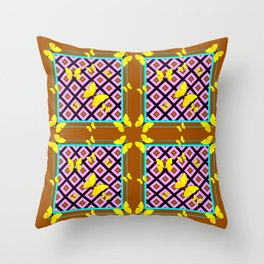 Western Style Purple Patterns & Yellow Butterflies Coffee Brown Throw Pillow