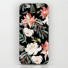 Christmas Poinsettias & White Roses Pattern iPhone Skin