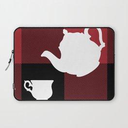 Big Chonky Blocks Afternoon Tea Coffee Set White Silhouette on Buffalo Plaid by @risottoart, check o Laptop Sleeve