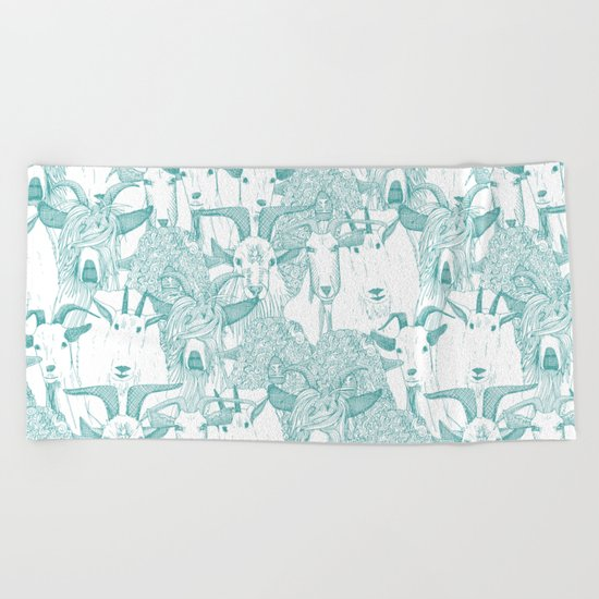 just goats teal Beach Towel