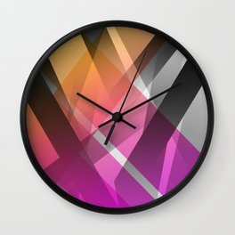 Transparent Yellow Orange Fuchsia Geomtric Shapes Wall Clock