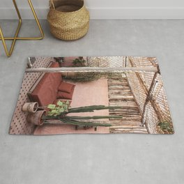Tropical Terrace In Marrakech Art Print | Pink Rooftop Cactus Plants | Morocco Travel Photography Rug